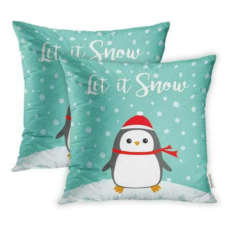YWOTA Let It Snow Kawaii Penguin Bird on Snowdrift Red Santa Claus Hat Scarf Cute Pillow Cases Cushion Cover 16x16 inch (Snowdrift Santa)