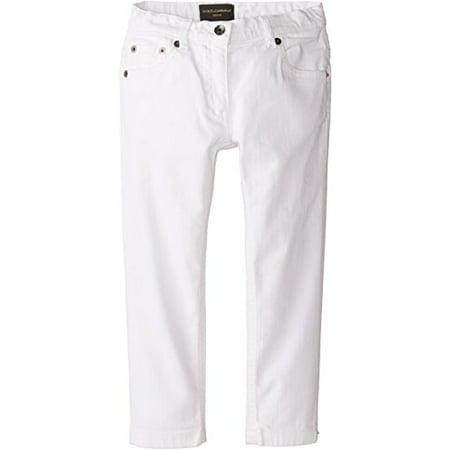 Dolce & Gabbana Kids Girls Mediterranean Five-Pocket Jeans in White/Demin (Toddler/Little Kids), 4T X One Size