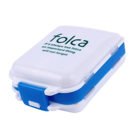 Travel Plastic 8 Compartments Medicine Pill Box Case Container White Blue - image 3 de 3