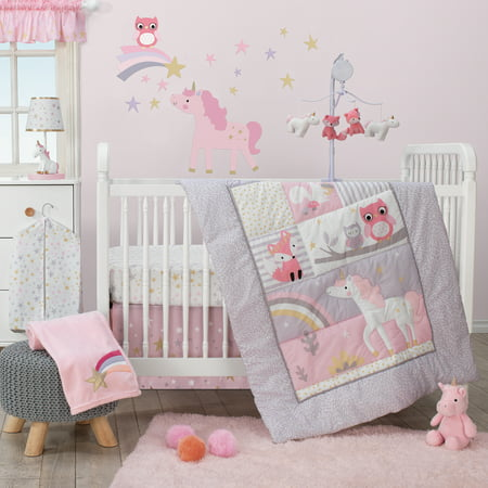 Celestial Baby Bedding - Bedtime Originals Rainbow Unicorn 3-Piece Crib Bedding Set - Pink, Purple
