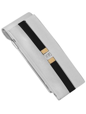 Men's Stainless Steel Diamond Accent Tri Tone Money Clip