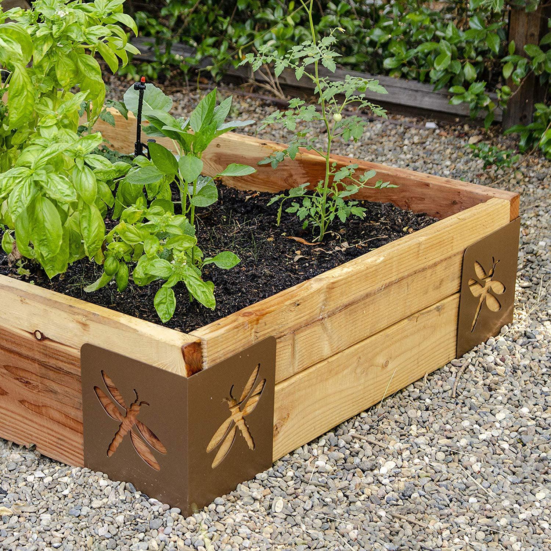 Garden Raised Bed Corner Brackets, 9.5, Brown. BLOOM