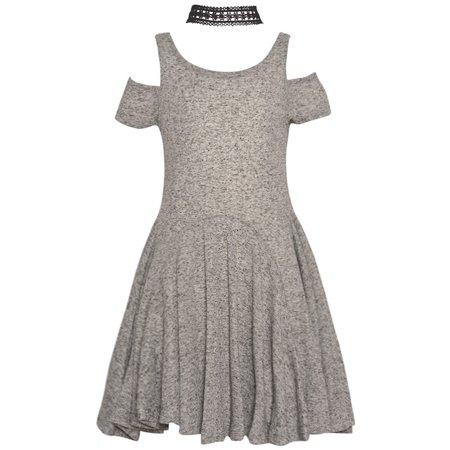 rare editions rare editions girls gray cold shoulder sleeve necklace christmas dress walmartcom