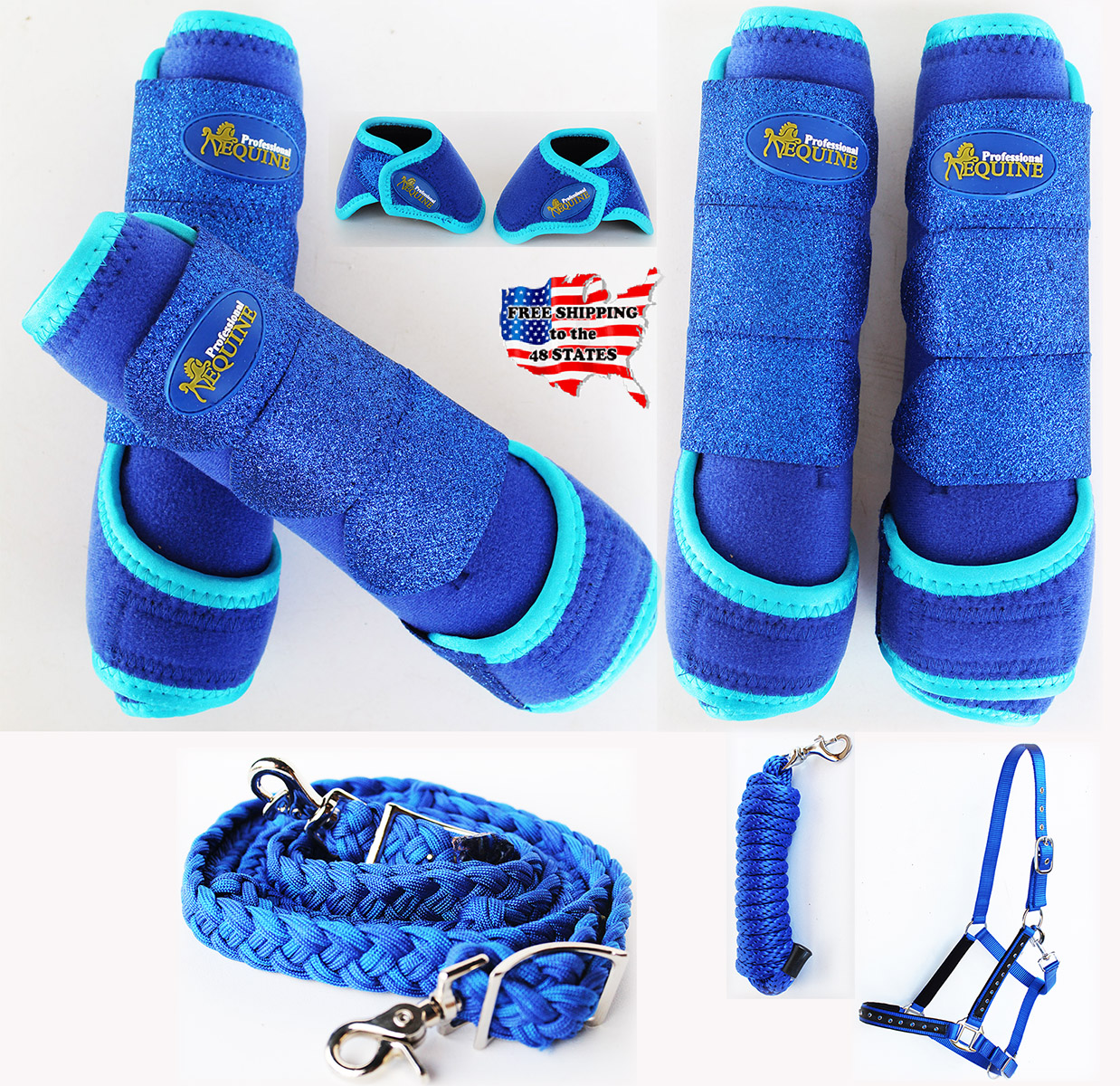 Horse 4PK Professional Equine Sports Medicine Splint Bell Boots Halter 41F by
