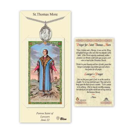 Pewter St. Thomas More on a 24 inch Curb Chain with a Prayer to St Anthony Prayer