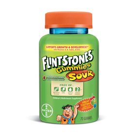 Flintstones Sour Gummies Children's Multivitamins, Kids Vitamin Supplement with Vitamins C, D, E, B6, and B12, 70 Count