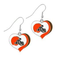 NFL Glitter Heart Earrings Dangle Charm Team Logo PICK YOUR TEAM w/Gift Box