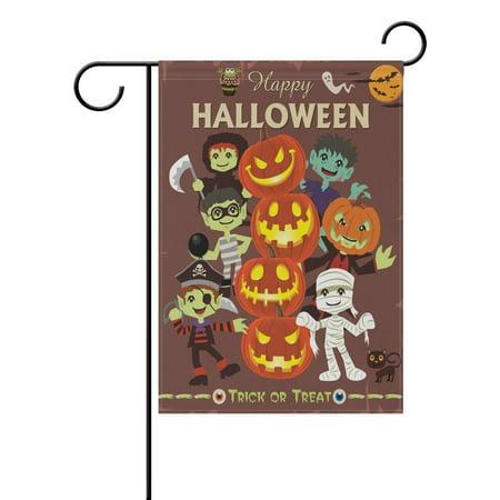 POPCreation Halloween Character And Pumpkin Faces Polyester Garden Flag Outdoor Flag Home Party Garden Decor 28x40 inches