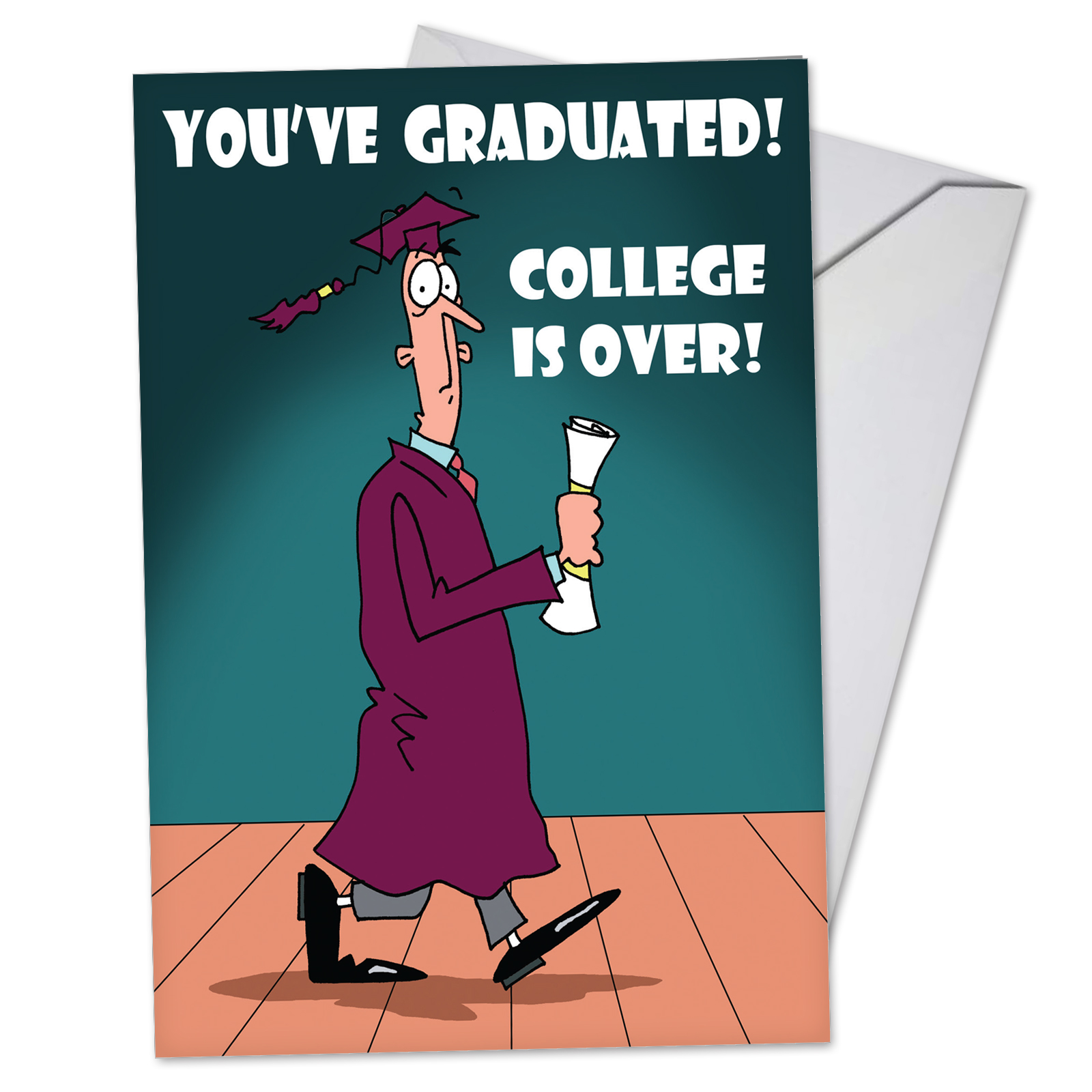C3558GDG Funny Graduation Greeting Card 'College Is Over' with Envelope by NobleWorks