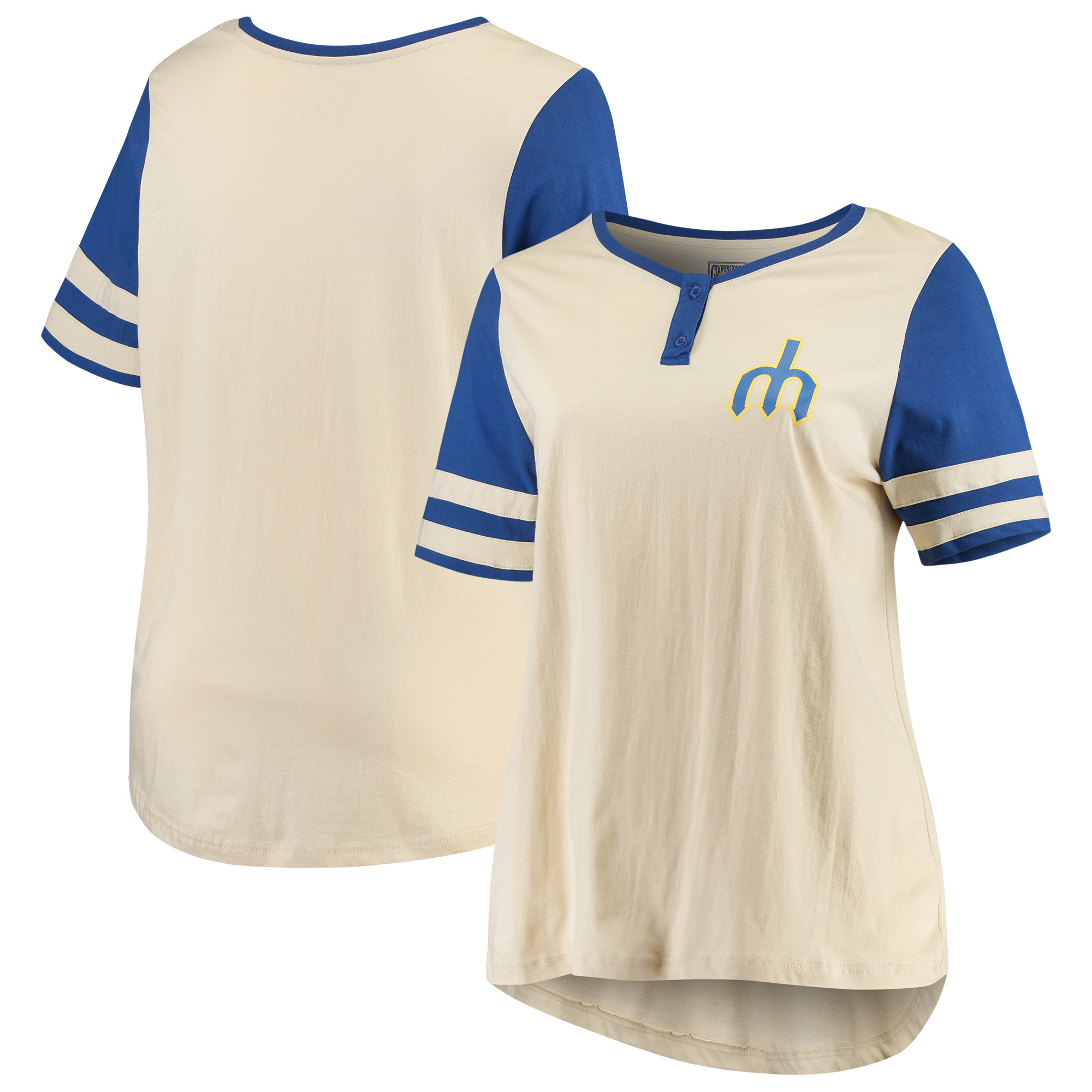 Seattle Mariners Majestic Women's Plus Size Cooperstown Collection Henley T-Shirt - Cream/Royal