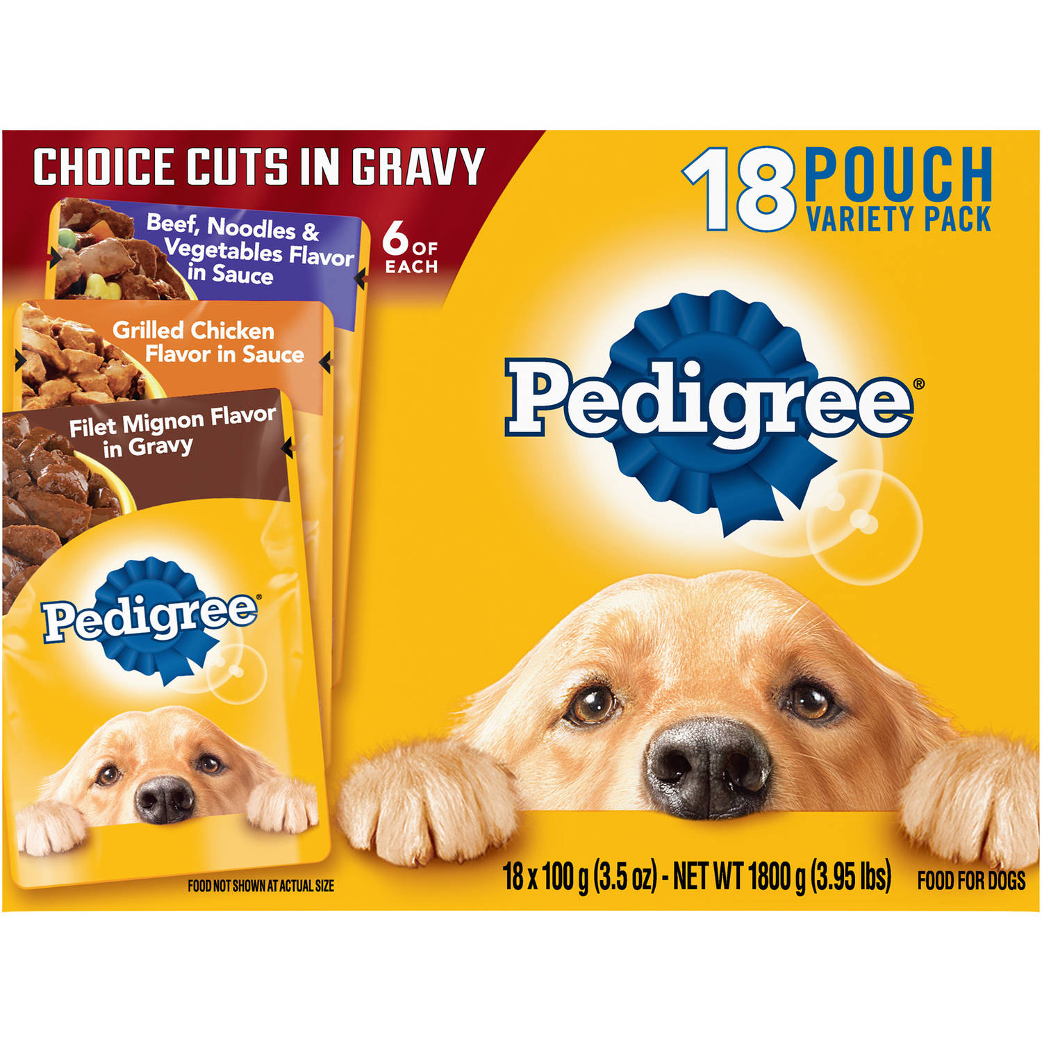 Pedigree Choice Cuts Variety Pack With Beef, Chicken & Filet Mignon Wet Dog Food, 3.5 Oz, 18 Count