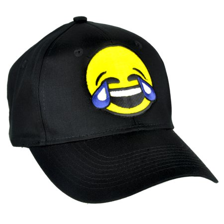 Cry Laughing Face Emoji Hat Tears of Joy Baseball Cap Alternative Clothing](Laughing With Tears Emoji)