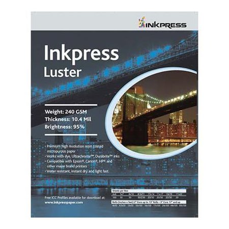 - Inkpress Luster Premium Single Sided Bright Resin Coated Photograde Inkjet Paper, 10.4mil., 240gsm., 13x19
