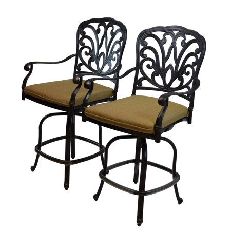 """- Set of 2 Elegant Antique Bronze Colored Counter Height Outdoor Patio Bar Stools 44"""""""