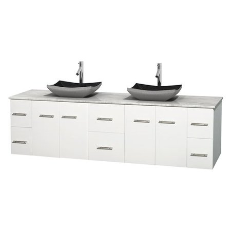 Wyndham Collection Centra 80 Inch Double Bathroom Vanity In Matte White White Carrera Marble