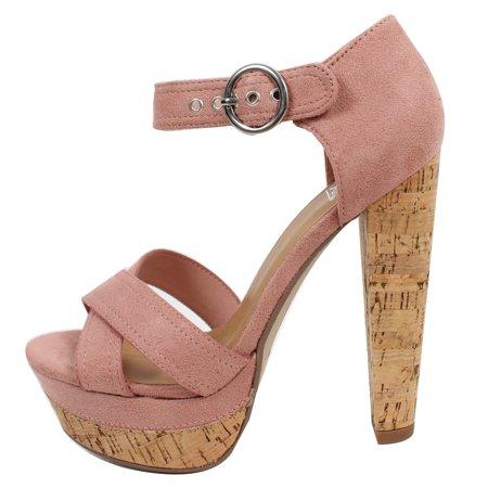 Speed Limit 98 Women's Faux Suede Cork Platform Heel Sandal