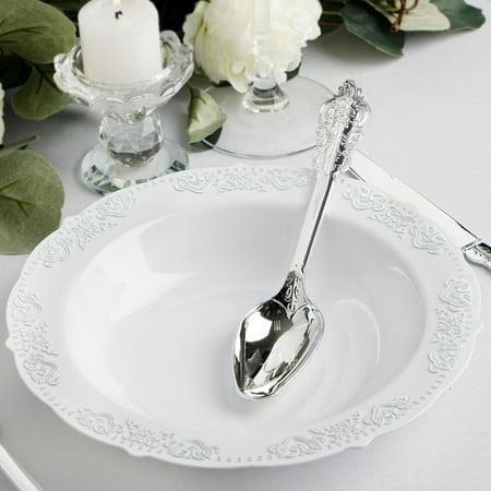 BalsaCircle 10 pcs 12 oz White Plastic Bowls Trim - Disposable Wedding Party Home Tableware Discounted Supplies Wholesale Gold Trim Sugar Bowl