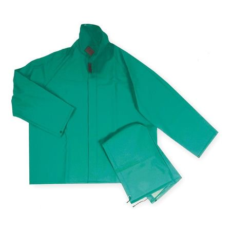 Condor 4MK98 L Green PVC Flame-Resistant Rain Jacket with Detachable Hood