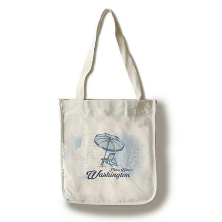 Friday Harbor, Washington - Beach Chair & Umbrella - Blue - Coastal Icon - Lantern Press Artwork (100% Cotton Tote Bag -