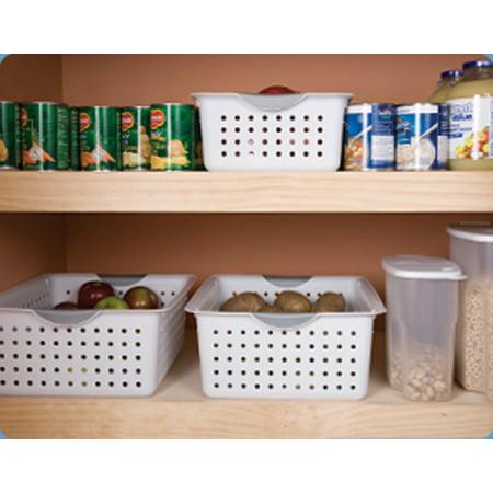 Sterilite Large Ultra Plastic Storage Organizer Baskets, White (6 Pack) 16268006 - image 3 of 6