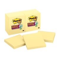 Post-it Super Sticky Notes 12 Pack, Canary Yellow, 3in x 3in