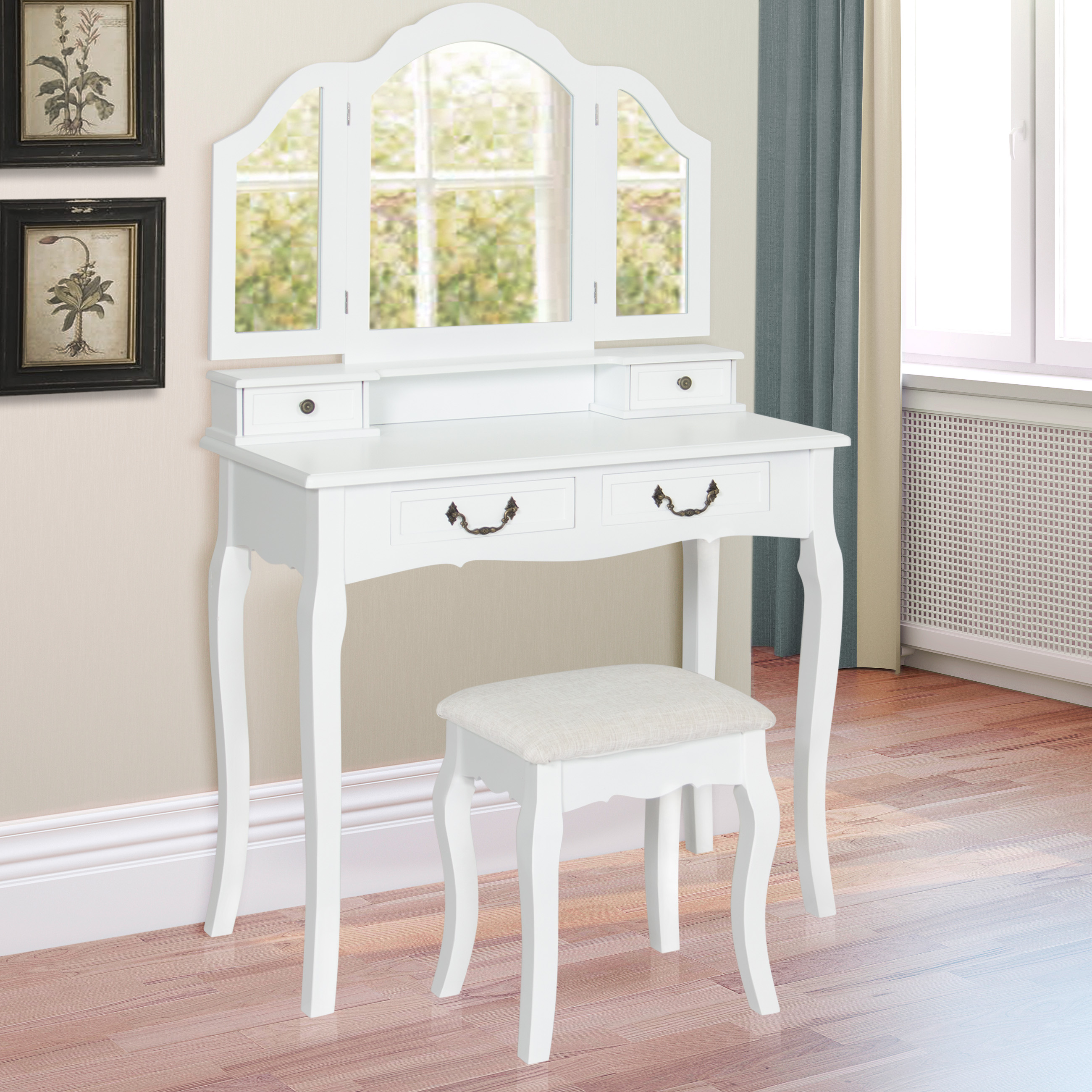 Best Choice Products Bathroom Tri-Mirror Vanity Table Set W  Stool Hair Dressing Organizer- White by