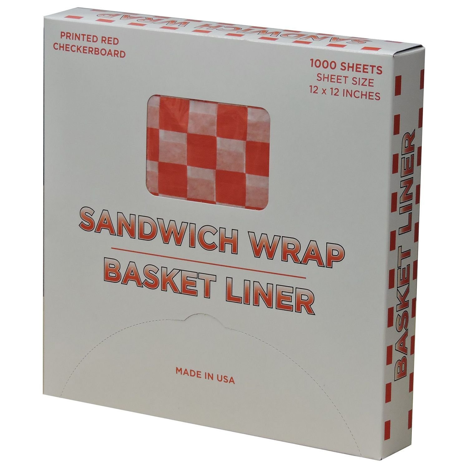 Red Checkered Sandwich Wrap & Basket Liners - 1000 sheets, Grease Resistant, Basket Liner, Microwavable By Handy Wacks