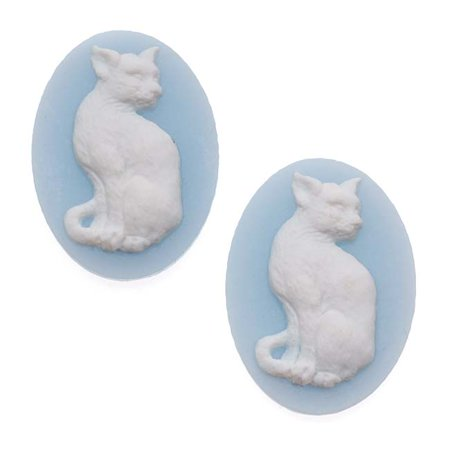 Vintage Style Lucite Oval Cameo Blue With White Cat 25 x 18mm (2)