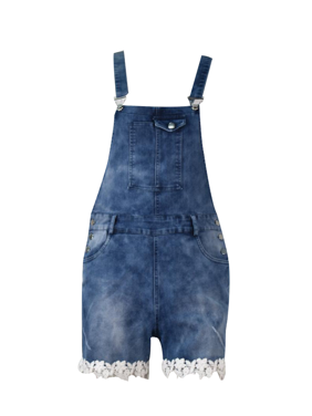 Women Casual Hole Overalls Pant Short Jeans Jumpsuits with Pockets