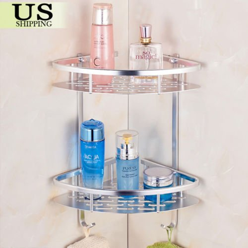 Matte Space Aluminium Shelves Triangular Shower Caddy Bathroom Wall Corner Rack Storage... by