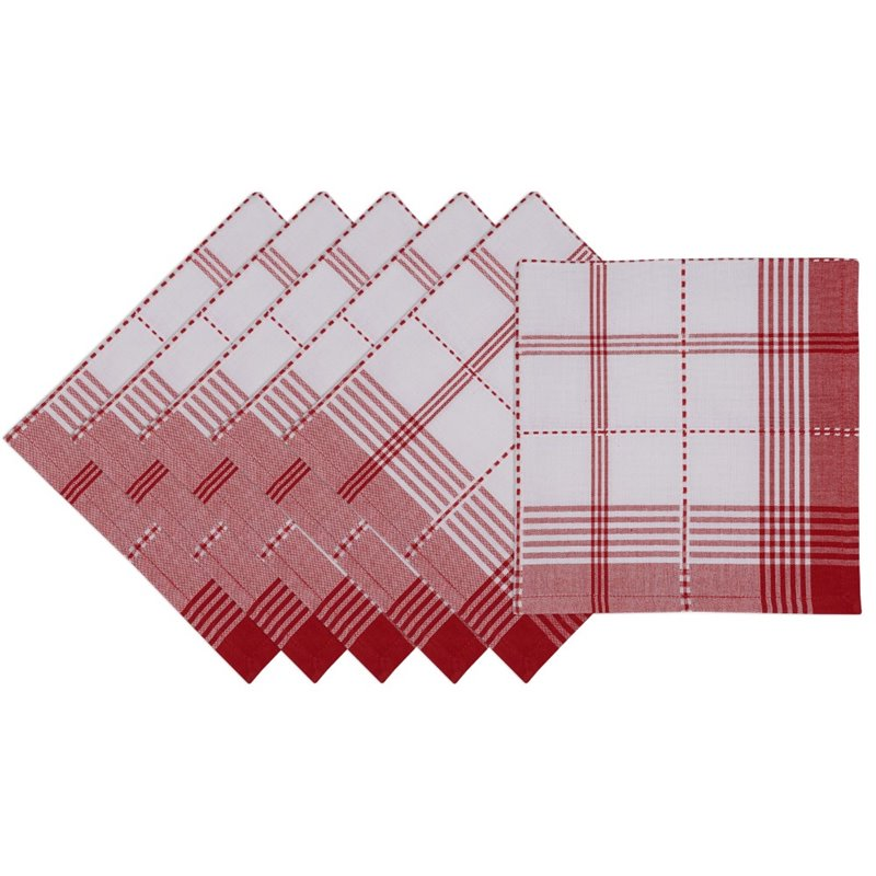 "Design Imports 20"" Square Plaid Napkin in Radish (Set of 6)"