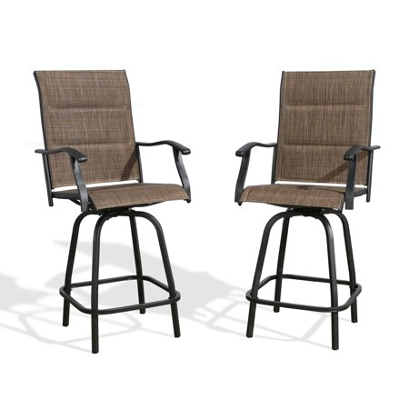 Ulax furniture Outdoor 2-Piece Swivel Bar Stools Height Patio Chairs Padded Sling Fabric