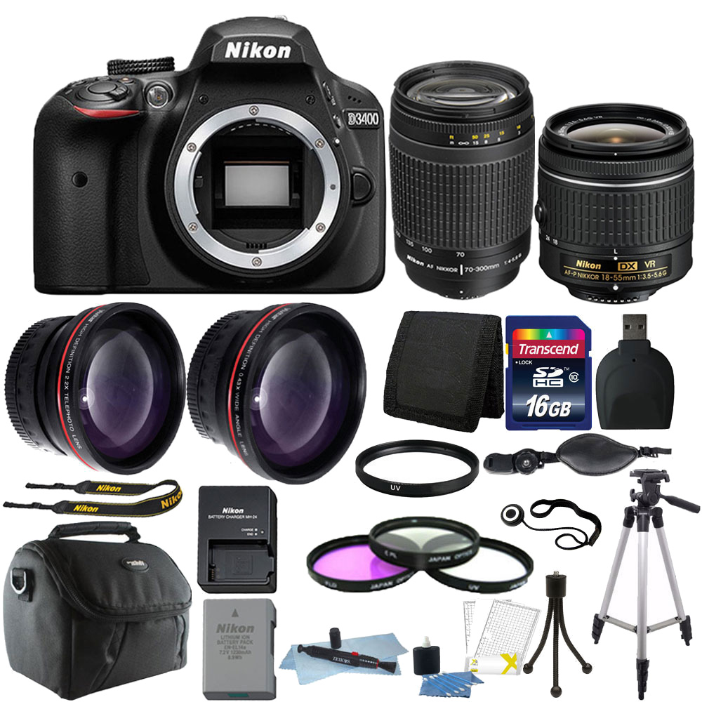 Nikon D3400 24MP Digital SLR Camera + 18-55mm + 70-300mm Lens + Deluxe Bundle