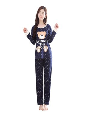 Fymall Women's Cartoon Print Long Sleeves Pajama Sets Girls Sweet Sleepwear