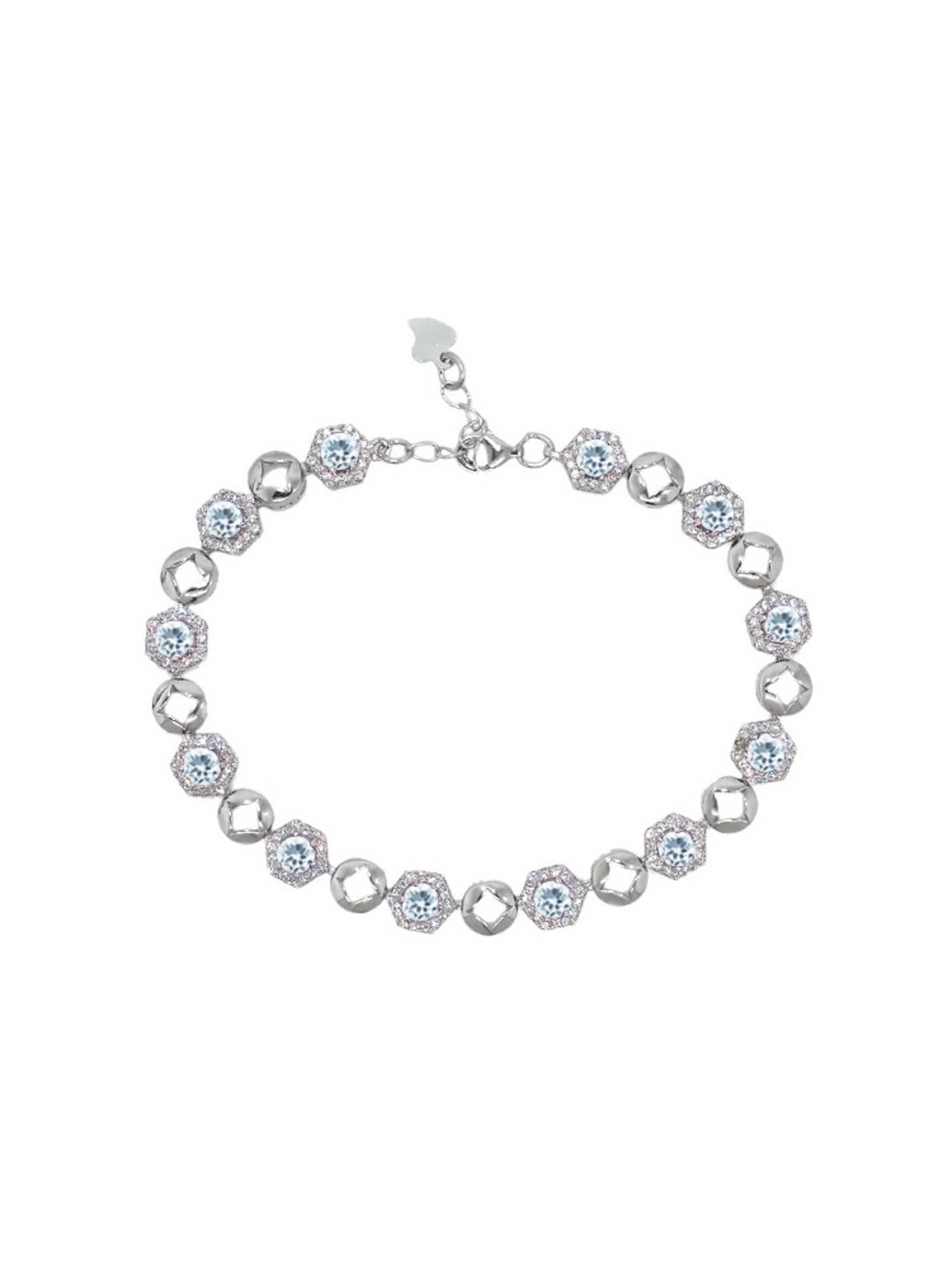 5.45 Ct Round Sky Blue Aquamarine 925 Sterling Silver Bracelet by