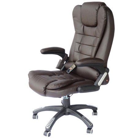 PU Leather High Back Executive Heated Massage Office Chair - Dark Brown