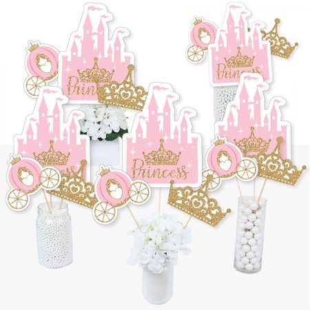 Little Princess Crown - Pink and Gold Princess Baby Shower or Birthday Party Centerpiece Sticks - Table Toppers - 15 Ct - Light Up Table Centerpieces