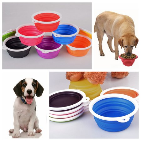 Collapsible Silicone Pet Bowl Expandable Cup Dish Folding For Dog Bowls Pet Dog/Cat Food Water Feeding Travel Bowl Portable Lightweight