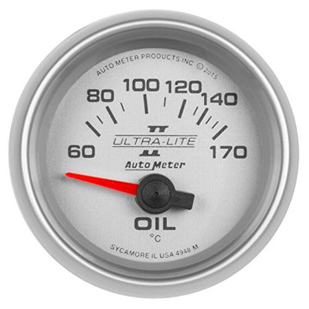 Auto Meter 4948-M Ultra-Lite Ii? Electric Oil Temperature Gauge; 2 1/16 In.; 60-170deg. C; Silver Dial Face W/fluorescent Red Pointer; Brushedaluminum Bezel; White Led Lighting;