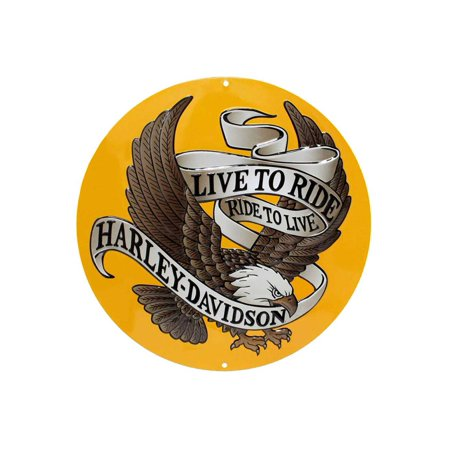 Harley-Davidson Round Tin Sign, Live To Ride, Ride To Live Eagle Gold 2010231, Harley - Golf Pub Sign