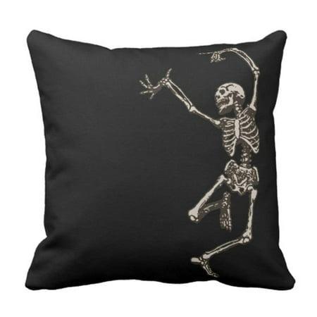 Disney Halloween Dancing Skeletons (BPBOP Halloween Dancing Skeleton Goth Creepy Skull Cool Holiday Pillowcase Cushion Cover 16x16)
