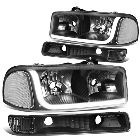 For 1999 to 2007 GMC Sierra 1500 2500 3500 / Yukon LED DRL Light Bar Headlight+Bumper Lamp Black Housing Clear Corner 00 01 02 03 04 05 06 4Psc