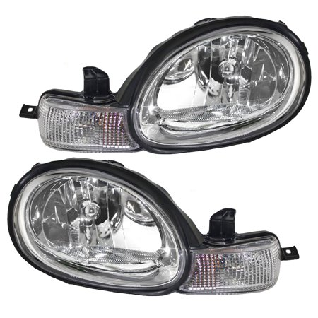 BROCK Headlights Headlamps with Inner Chrome Bezels Pair Set Replacements for Dodge Plymouth Neon 5288509AH (Plymouth Neon Cv Joint)