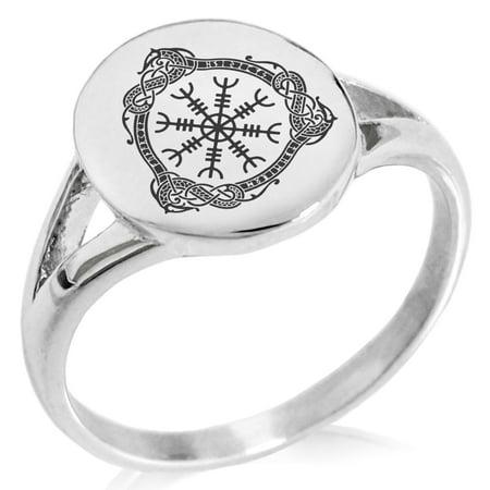 Stainless Steel Aegishjalmur Awe & Terror Helm Viking Rune Minimalist Oval Top Polished Statement Signet Ring
