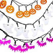 Halloween String Lights, Set of 3 Battery Operated 2 Modes 7.5ft Pumpkin Bat Ghost Decoration Lights with 20 LED Lights Each for Indoor/Outdoor Halloween, Christmas, Holiday Party Decoration
