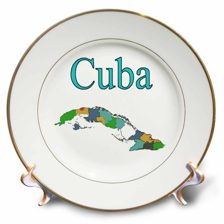 3dRose Image of Cuba Outline In Beautiful Colors - Porcelain Plate, 8-inch