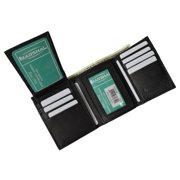 Men's premium genuine leather credit card ID trifold wallet P1455