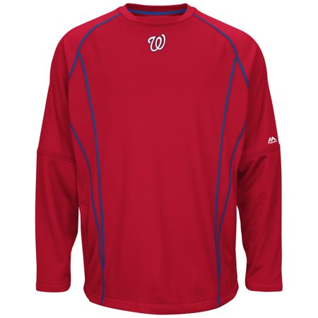 Washington Nationals Majestic MLB Authentic On-Field Crew Pullover Sweatshirt by