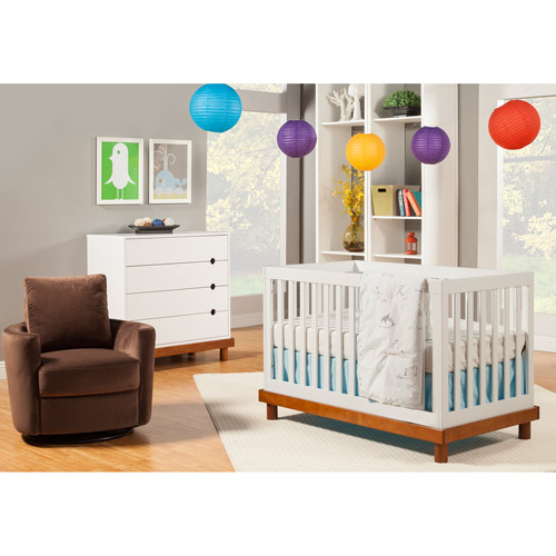 Baby Mod - Olivia 3-in-1 Baby Crib and 4-Drawer Dresser, Amber and White