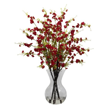 Nearly Natural Cherry Blossoms with Vase Arrangement, - Red Cherry Blossom